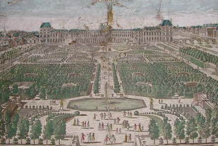 Le Notre's central axis of the Tuileries' parterres in a late 17th-century engraving Tuileries.jpg