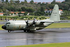 Tunisian Air Force - A C-130 taxis down the runway at Lajes Field, Portugal