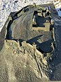Tunsberghus medieval 14c. fortress (middelalderborg festning) Architectural bronze scale model (borgmodell) mounted on Slottsfjellet 2000 Sunlight Long shadows Winter Tønsberg Norway 2016-02-15 1746.jpg