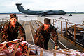 Two air cargo specialists of the 438th Aerial Port Squadron move freight up the ramp of a K-Loader DF-ST-90-02084.jpg