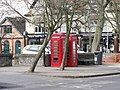 Two red telephone boxes in Overton town centre, Hants - geograph.org.uk - 1766531.jpg