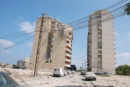 Aftermath of the IAF attack on Tyre that killed 14 civilians on 16 July 2006 Tyre-Lebanon1.jpg