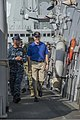 U.S. Navy Cmdr. Dave Stoner, left, the commanding officer of the guided missile destroyer USS Ramage (DDG 61), escorts Secretary of the Navy Ray Mabus on a tour of the ship Nov. 15, 2013, at Naval Support 131115-N-VC236-020.jpg
