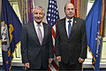 U.S. Secretary of Defense Chuck Hagel, left, poses for a photograph with Israeli Minister of Defense Moshe Ya'alon at the Pentagon in Arlington, Va., Oct. 21, 2014 141021-D-NI589-071.jpg
