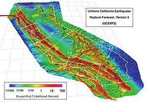 Earthquake forecasting - California (outlined in white) and buffer zone showing the 2,606 fault subsections of UCERF 3.1. Colors indicate probability (as a percentage) of experiencing an M ≥ 6.7 earthquake in the next 30 years, accounting for the stress accumulated since the last earthquake. Does not include effects from the Cascadia subduction zone (not shown) in the northwest corner.