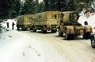 United Nations Protection Force - UNPROFOR Dutch Transportbatallion en route in Bosnia-Herzegovina late 1994