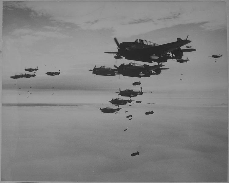 File:USS ESSEX based TBMs and SB2Cs dropping bombs on Hakodate, Japan. - NARA - 520989.tiff