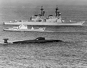 USS Peterson (DD-969) with Victor class sub.jpg