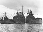 USS Salt Lake City (CA-25) and USS Markab (AD-21) at Dutch Harbor on 29 March 1943.jpg