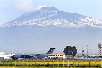 Naval Air Station Sigonella - Air terminal of NAS Sigonella with Mt Etna in the background