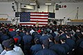 US Navy 050910-N-8933S-005 Chief of Naval Operations Adm. Mike Mullen, addresses the crew of the amphibious assault ship USS Iwo Jima (LHD 7) during an All Hands Call.jpg