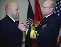 US Navy 080208-N-0502M-006 Chief Warrant Officer Jeffrey R, Barone is presented wtih the Bronze Star Medal by Vice Adm. Paul E. Sullivan, commander of Naval Sea Systems Command.jpg