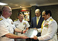 US Navy 090517-N-6604E-063 Rear Adm. Kurt W. Tidd, commander of Carrier Strike Group 8, presents a gift to the King of Bahrain, His Majesty the King Hamad bin Isa Al Khalifa.jpg