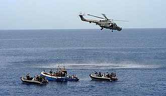 Carré d'As IV incident - British Royal Marines investigate two suspected pirate skiffs in the Gulf of Aden.