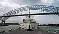 US Navy 100329-N-7058E-033 The littoral combat ship USS Freedom (LCS 1) passes beneath the Bridge of the Americas as it departs Panama City following a theater security cooperation port visit as part of operations in the U.S. 4.jpg