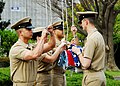 US Navy 100401-N-2218S-003 A chief petty officer colors detail prepares to raise flags during morning colors at Commander Fleet Activities Yokosuka.jpg