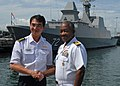 US Navy 100706-N-0995C-078 Capt. Richard L. Clemmons, right, commodore of Task Group 73.1, shakes hands with Col. Tiong Kian Sim, commander of the Republic of Singapore's 1st Flotilla.jpg
