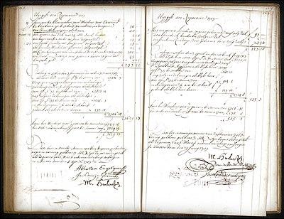 Twee pagina's met eindafrekeningen met handtekeningen van verschillende regenten uit het ontvangst- en uitgaafregister uit de administratie van het Burgerweeshuis met betrekking tot de exploitatie van de Schouwburg.[1]