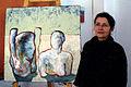Ulla Nentwig vor einer ihrer Körper-Arbeiten aus 2008, 120 x 100cm, Atelier Block 16, Hannover Nordstadt, Zinnober-Volkskunstlauf 2012.jpg