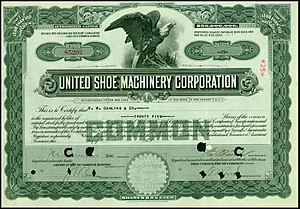 United Shoe Machinery Corporation - Share of the United Shoe Machinery Corporation, issued 4. May 1916