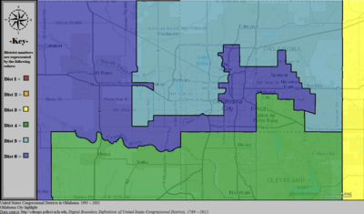 United States Congressional Districts in Oklahoma (metro highlight), 1993 - 2002.tif
