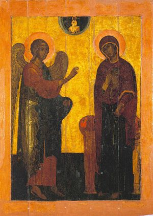 Ustyug Annunciation - A copy of Annunciation of Ustyug in Cathedral of the Archangel (16th century).