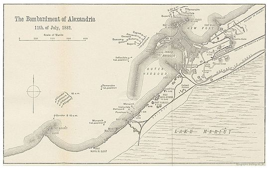 Plan of the Bombardement VOGT(1883) p245 BOMBARDEMENT OF ALEXANDRIA - JULY 1882.jpg