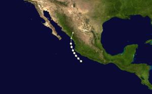 1962 Pacific hurricane season - Image: Valerie 1962 track