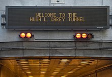 Variable-message sign at the tunnel's entrance