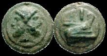 Asse con l'effigie di Giano e la prora di una nave. Circa 240-225 a.C.