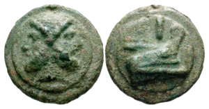 Roman Republican currency - O: Bearded head of Janus, I horizontally below; on a raised disk.