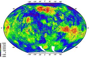 Vega program - Position of Vega landing sites. Red points denote sites returning images from the surface, black central dots sites of surface sample analysis. Map based on mapping from Pioneer Venus Orbiter, Magellan and Venera 15/16.