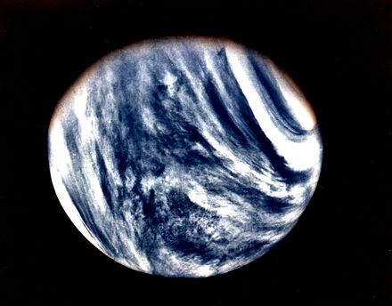 Global view of Venus in ultraviolet light done by Mariner 10. Venus as captured by Mariner 10.jpg