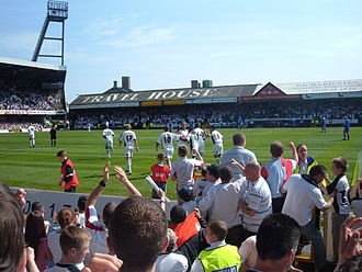 Swansea City A.F.C. - Swansea fans and players celebrate the last league goal to be scored at the Vetch Field