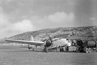 Lajes Field - A Vickers Wellington Mk XIV, No. 172 Squadron RAF undergoing servicing at Lajes airfield during 1944