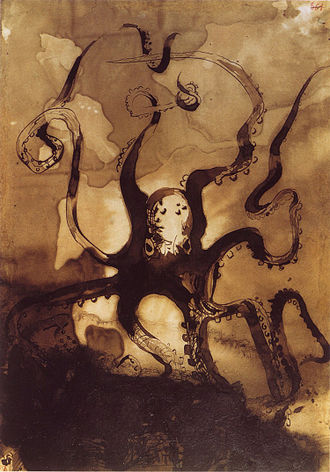 Toilers of the Sea - Octopus that Gilliatt faces (ink wash painting by author, 1866)