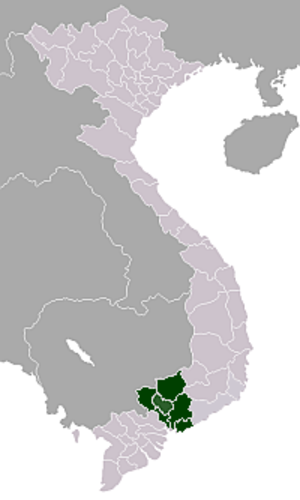 Southeast (Vietnam) - Map showing location of Đông Nam Bộ (Southeast Vietnam)