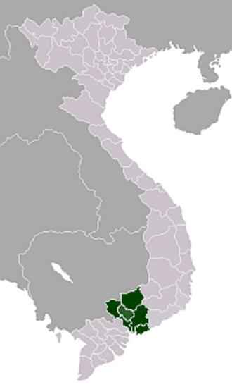 Southeast (Vietnam) - Map showing location of Đông Nam Bộ (Southeast Vietnam)