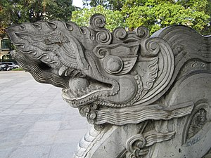 Vietnamese dragon - Modern dragon staircase built in the Ly Dynasty style, Hanoi