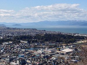 Hikone, Shiga - City central, Lake Biwa and Hikone castle viewed from Sawayama castle ruin