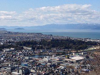 Hikone, Shiga - City central, Lake Biwa and Hikone castle viewed from Sawayama castle ruin