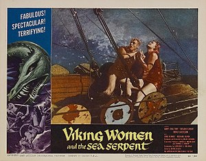 The Saga of the Viking Women and Their Voyage to the Waters of the Great Sea Serpent - Betsy Jones-Moreland and Jonathan Haze struggle to reef the sail of the Viking ship.