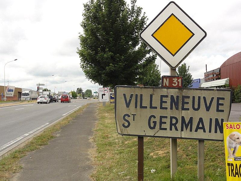 Villeneuve-Saint-Germain (Aisne) city limit sign