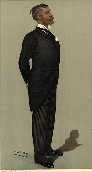 Edgar Vincent, 1st Viscount D'Abernon - Caricature by Spy (Leslie Ward) in Vanity Fair magazine (20 April 1899)
