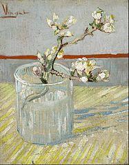 Branche d'amandier en fleur dans un verre