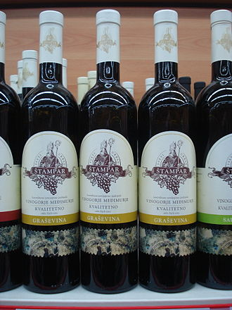 Welschriesling - Bottles of Graševina quality wine from Međimurje County, northern Croatia