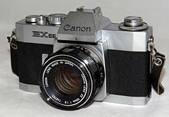 Vintage Cannon EXEE 35 mm SLR Film Camera, Made In Japan, Has A Permanently Mounted Half Lens, Circa 1969 - 1973 (18831177511).jpg