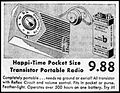 Vintage Newspaper Advertising For The Happi Time Transistor Radio By Bell Products, Also Sold Under The Futura Brand Name, The Cumberland Maryland News, October 15, 1959 (23508324112).jpg