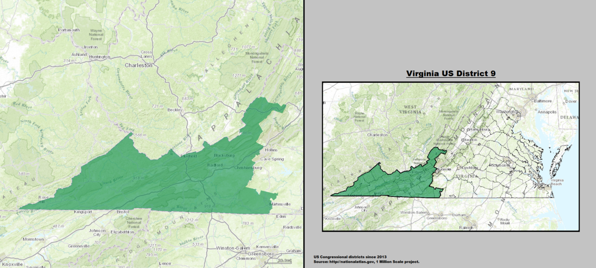 Virginias Th Congressional District Wikipedia - Virginia on a us map