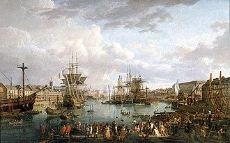 French ship Bretagne (1766) - Image: Vue du port de Brest